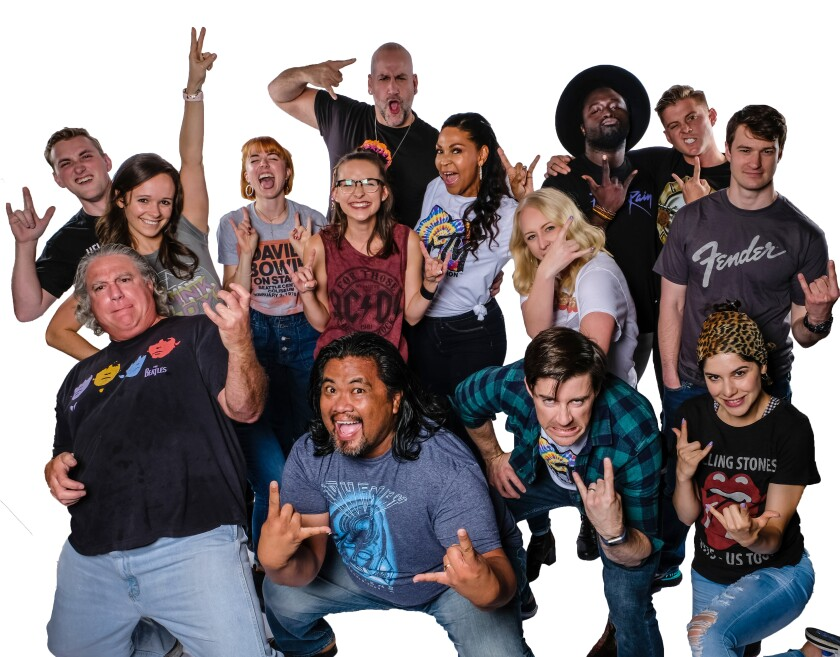 "The cast of Cygnet Theatre's ""Rock of Ages."""