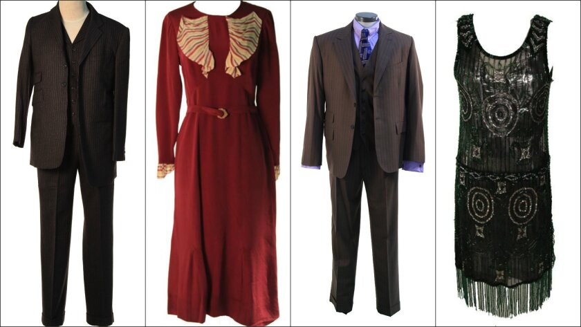 """""""Boardwalk Empire"""" wardrobe pieces that will be auctioned off starting Sunday include, from left, a suit worn by the show's Jimmy Darmody character, a dress worn by Margaret Schroeder, the last suit worn by Chalky White, and a sequin evening dress worn by Sally Wheet."""