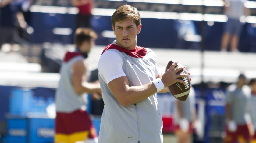 It remains to be seen whether quarterback Kedon Slovis will be cleared to play for USC at Washington on Saturday.