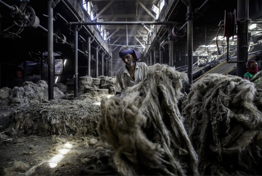 A factory worker sifts through bales of jute to sort the choicest fibers before loading them into machines to be softened and rolled.