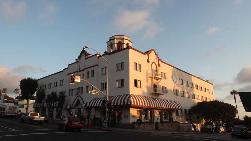 A view of the Hotel Laguna from Coast Hwy and Laguna St.