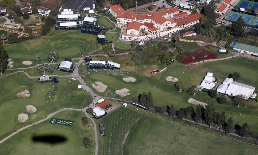 Shown is an aerial view of Pacific Palisades' Riviera Country Club from the MetLife blimp on Feb. 19.
