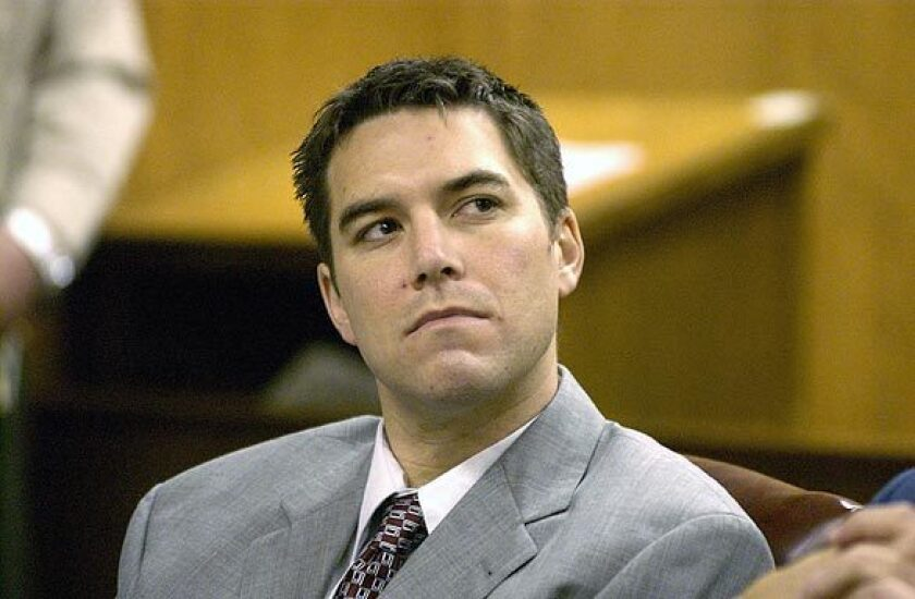 Scott Peterson in a suit and tie in court in Modesto in 2004.