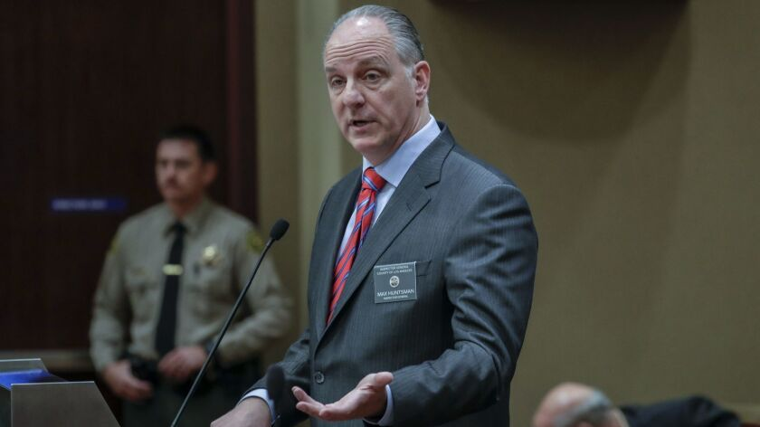Los Angeles County Inspector General Max Huntsman speaks at a Sheriff Civilian Oversight Commission hearing Thursday.