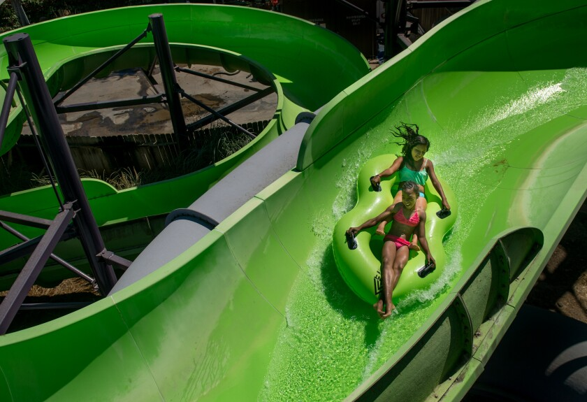 A water slide at Raging Waters in Sacramento