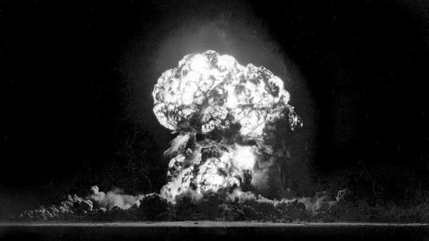 May 5, 1955: Atomic bomb test at Yucca Flat, Nevada. Blast was part of a series to test effects on b