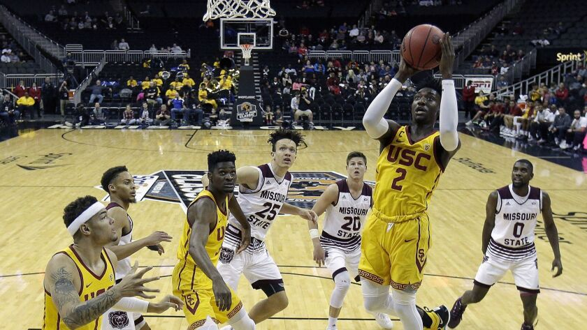 USC's Jonah Mathews (2) puts up a shot during the first half against Missouri State.