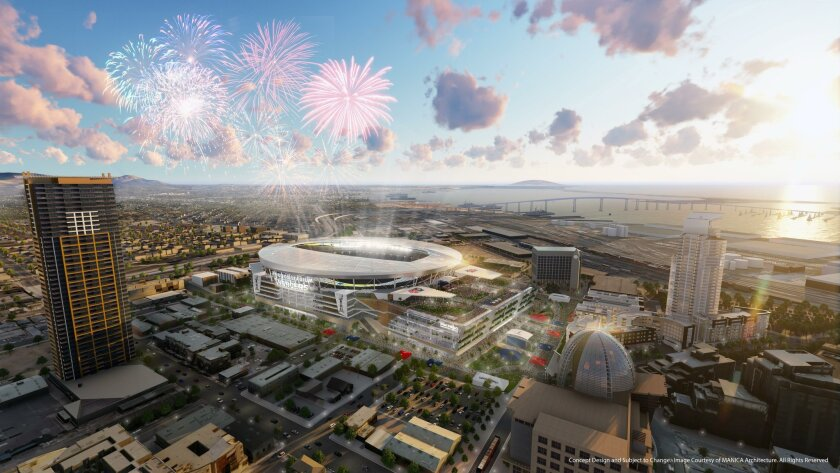 This rendering of the Chargers proposed stadium and convention center shows the building as it might look when it hosts a Super Bowl.