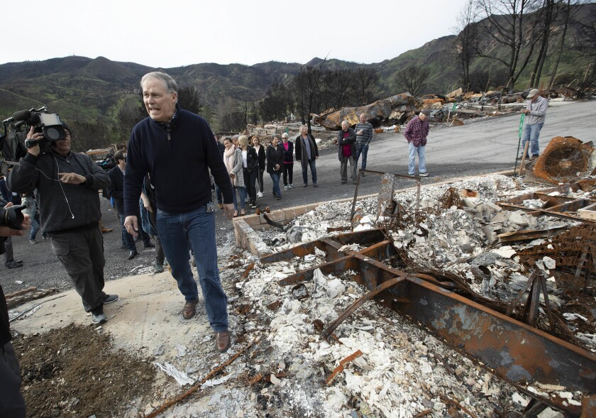 AGOURA HILLS, CA-MARCH 11, 2019: Gov. Jay Inslee of Washington tours Seminole Springs Mobile Home P