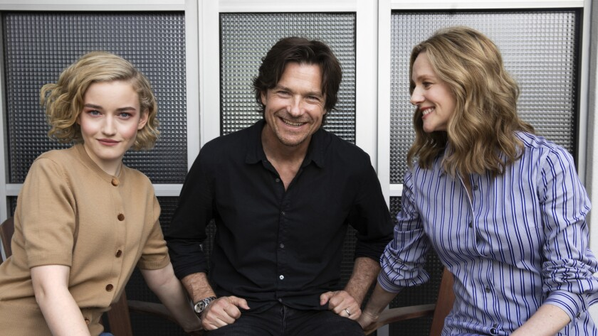 WEST HOLLYWOOD, CA-APRIL 8, 2019: Left to right-Laura Linney, Jason Bateman, and Julia Garner, the