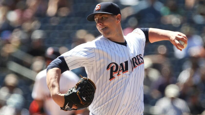 The Padres' Ryan Buchter pitches to the Marlins in the eighth inning at Petco Park in San Diego on June 15, 2016.