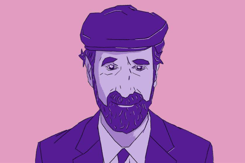 An illustration of Frederic Rzewski in pink and purple