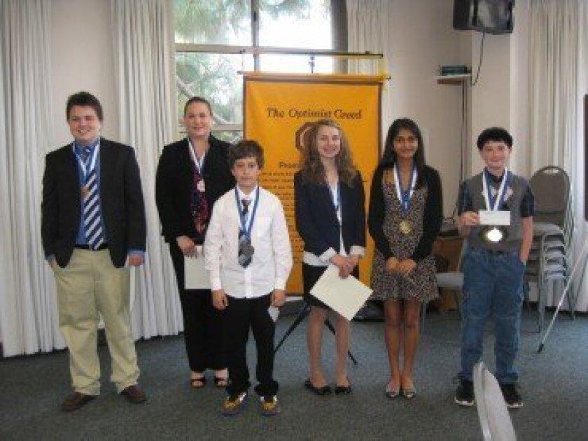 (Left to right): Brandon Beveridge (13) 3rd place; Briana Kaler (15) 3rd place; Daniel Kolotov (11) 2nd place; Christin Lacey (14) 2nd place; Aisiri Murulidhar(15) 1st place; Elliot (Doroni)(12) Garnett 1st place.