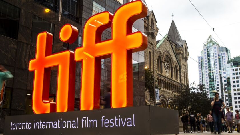 The TIFF logo at the 2018 Toronto International Film Festival along King Street in Toronto, Ontario, Canada.
