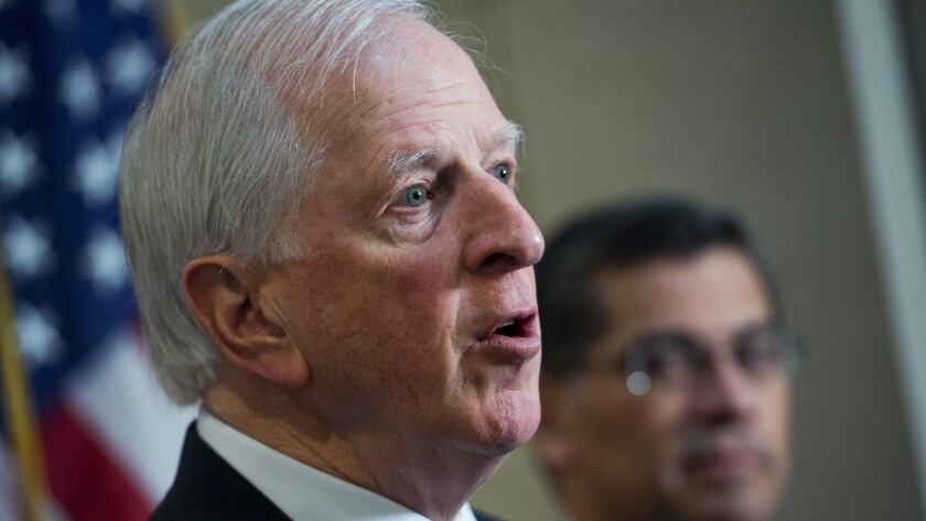 Rep. Mike Thompson (D-St. Helena) speaks to reporters at a House Democratic Caucus press conference. Caucus Chairman Xavier Becerra (D-Los Angeles) looks on.