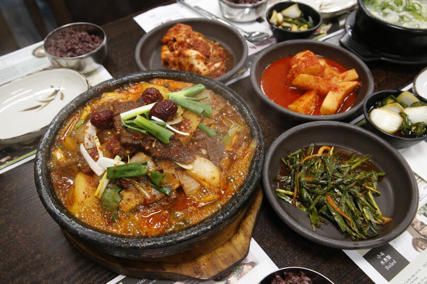 A short rib stew, galbi jjim, is a popular order at Sun Nong Dan in Koreatown.