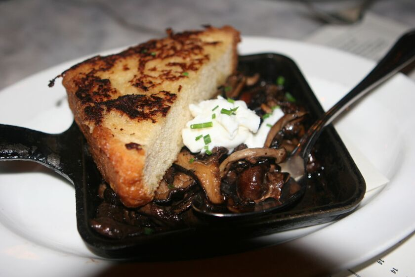 Mushrooms, French toast and burrata cheese from Searsucker San Diego (Liz Bowen)