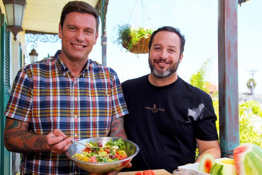 "Chef Chuck Hughes and the crew of his Cooking Channel TV show ""Chuck's Eat the Street"" filmed in San Diego recently. One of the stops was Urban Solace, where Hughes whipped up a watermelon salad with chef Matt Gordon."