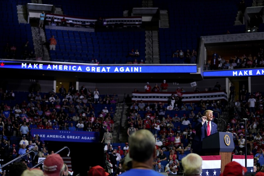President Donald Trump at a campaign rally in Tulsa on Saturday.