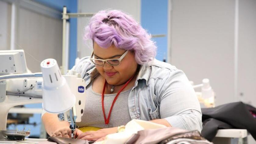 Ashley Nell Tipton working on a design in Project Runway season 14. (Barbara Nitke)