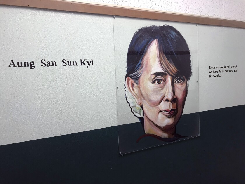 Burbank middle school removes mural of Nobel Peace Prize winner Aung San Suu Kyi