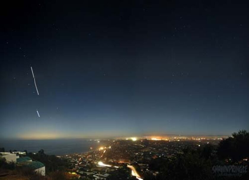 Shawn Pringle took this photo looking towards La Jolla Shores during the blackout when the only lights were from cars or buildings with generators.
