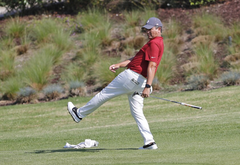 Big Canyon team captain Robert Pang tries to will a birdie in the hole during the 21st annual Jones Cup.