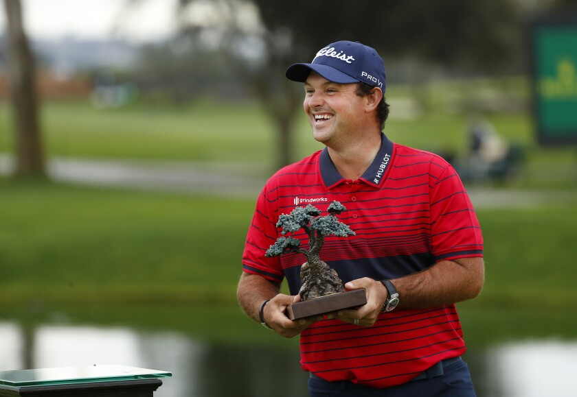 Patrick Reed celebrates his victory this year at Farmers Insurance Open at Torrey Pines.