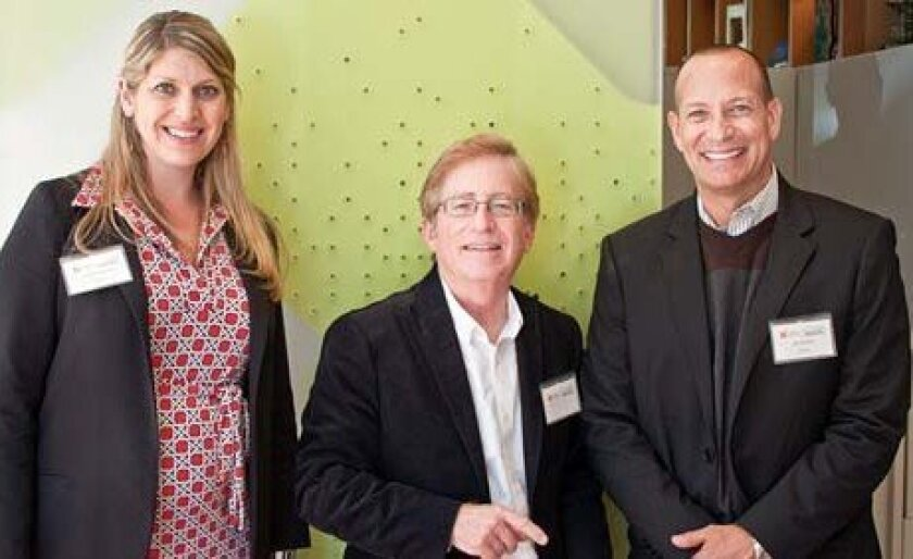 """MCASD grants and art writer Robert Pincus, is flanked by SDMA marketing pros Carrie Jones and Jon Bailey. """"I like seeing the two museums collaborating!"""" Pincus said. Photos by Maurice Hewitt"""