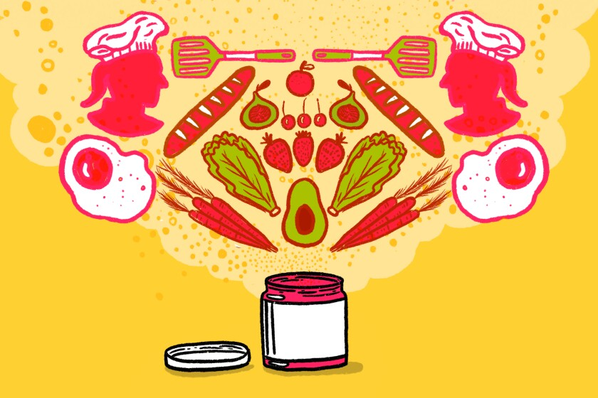 Illustrations of ingredients, cooking utensils, chefs and an open jar of jam