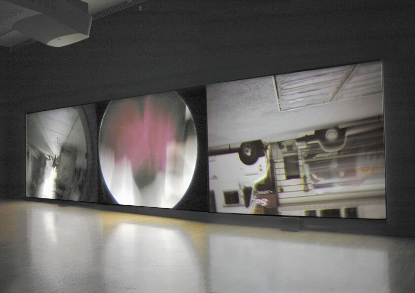 """""""Steve McQueen: Drumroll,"""" a video installation by the British artist and filmmaker, is currently at MOCA's small satellite space at the Pacific Design Center in West Hollywood."""