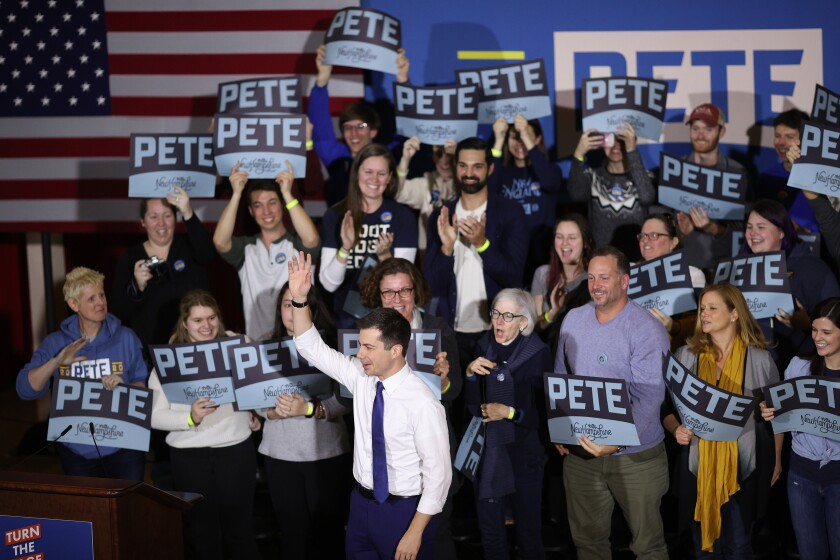 Democratic presidential candidate Pete Buttigieg arrives at a campaign event in Keene, N.H. The state holds its primary Feb. 11.