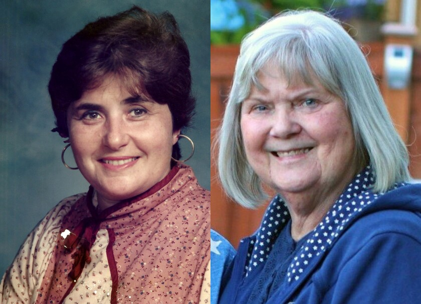 "Nancy ""Nicki"" Hamilton, left, and Carole Rae Woodmansee, members of the Skagit Valley Chorale who died of COVID-19."