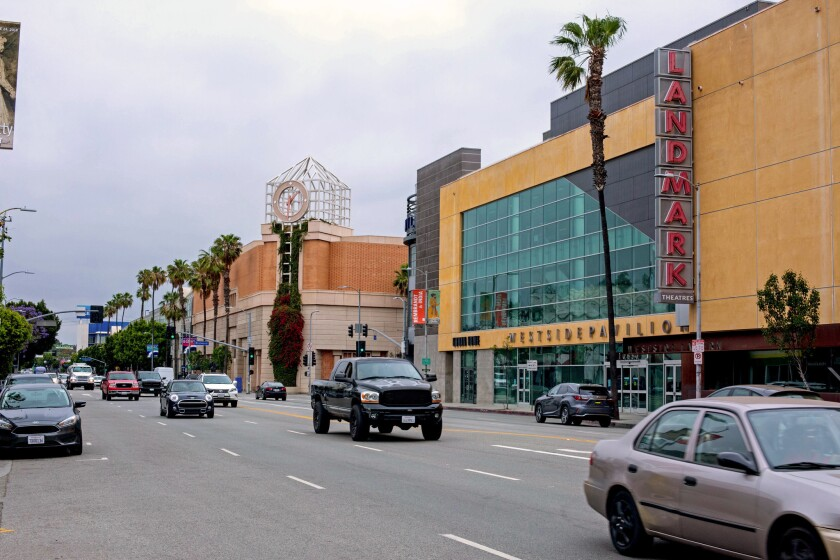Scenes from the Los Angeles neighborhood of Rancho Park, photographed on May 30, 2018. The Landmark Theatre complex at the old Westside Pavilion is seen in the foreground.