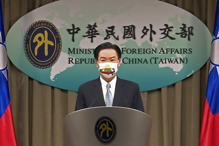 FILE - In this July 20, 2021, file image taken from a video footage run by Taiwan's Ministry of Foreign Affairs via AP Video, Taiwan Foreign Minister Joseph Wu, speaks about exchanging representative offices with Lithuania during a press briefing in Taipei, Taiwan. Lithuania on Friday, Sept. 3, 2021, recalled its ambassador to China following the Baltic country's decision in July to allow self-governing Taiwan to open an office in its capital under its own name. (Taiwan's Ministry of Foreign Affairs AP Video, File)