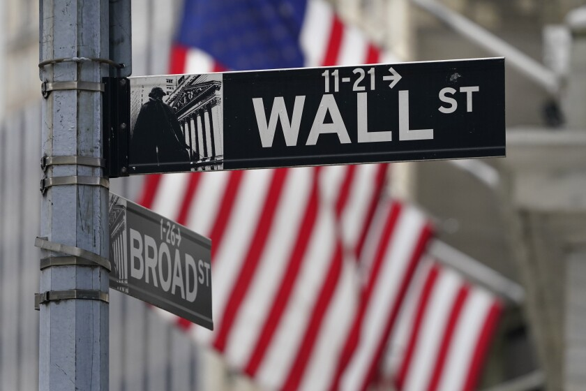 A Wall Street sign by the New York Stock Exchange.