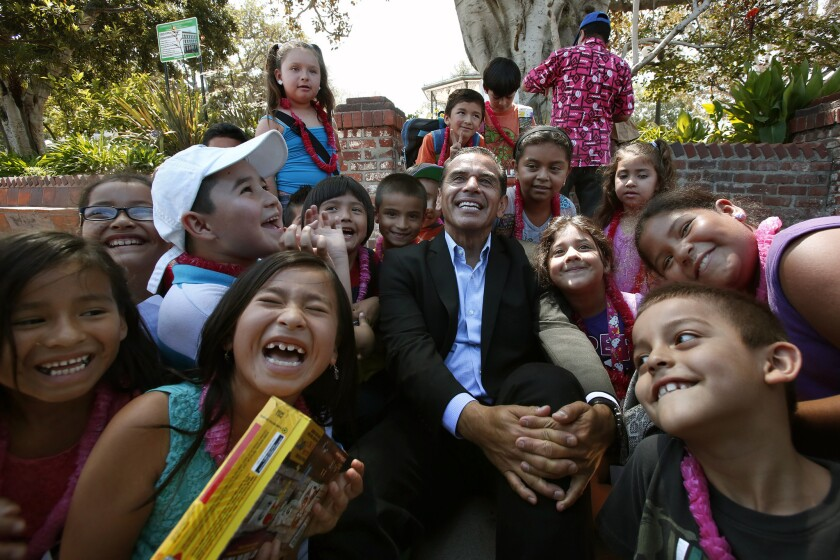 Mayor Antonio Villaraigosa poses with students from Hazeltine Avenue Elementary. His inability to gain control of L.A. Unified was a notable setback.