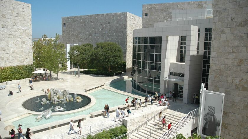 126812.ME.0729.gettyctr8.RTG – View of the museum courtyard fountain in front of the West Pavilion o