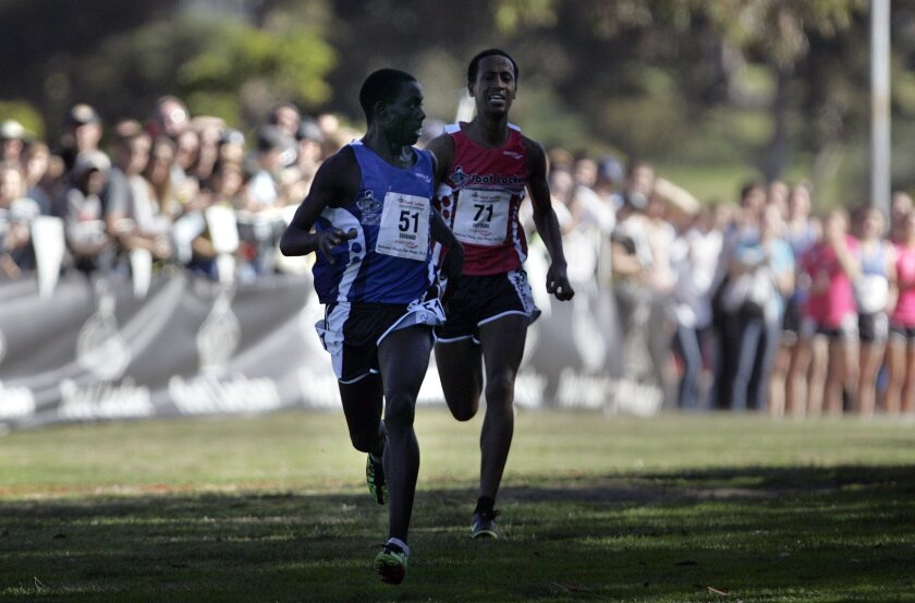 San Diego, CA 12/9-10/2011_ At the Footlocker Cross Country Championships held at Morley Field in Balboa Park, Edward Cheserek(cq) #51of St. Benedict's Prep School in Newark NJ won the boys competition over Futsum Zeinasellassie(cq), #71 of North Central HS in Indianapolis, IN.  John Gastaldo/Union
