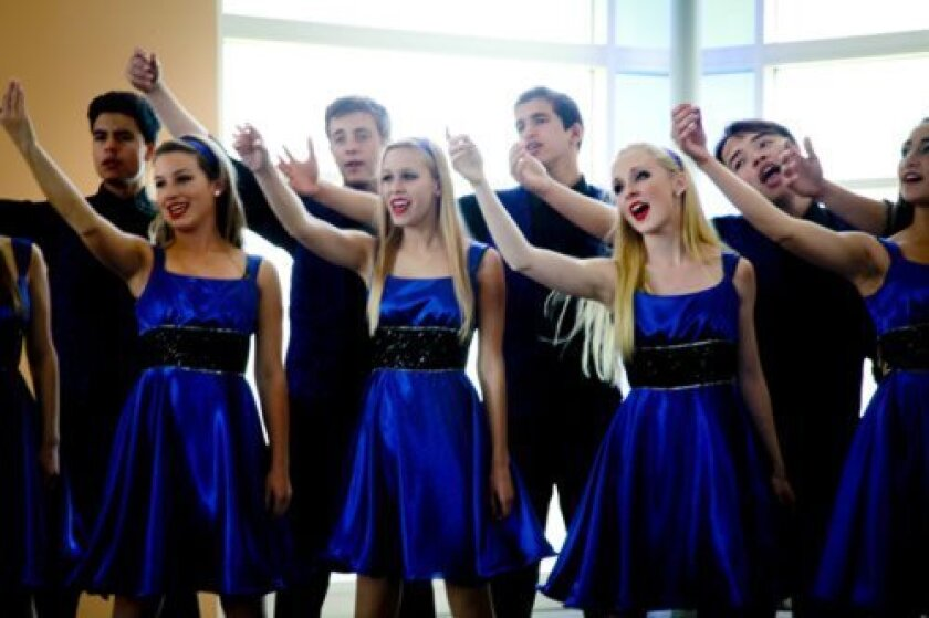 Members of the La Jolla Country Day Glee Club perform at a competition in Anaheim last spring. Courtesy