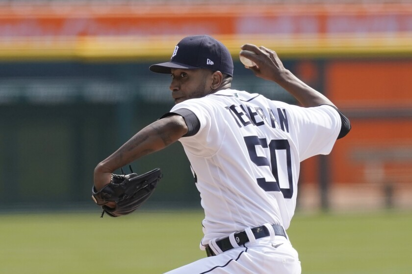 Detroit Tigers starting pitcher Julio Teheran throws during the first inning of a baseball game against the Cleveland Indians, Saturday, April 3, 2021, in Detroit. (AP Photo/Carlos Osorio)