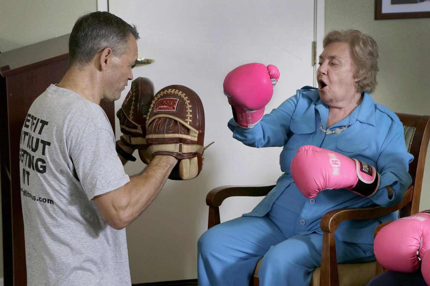 Senior citizens' boxing class