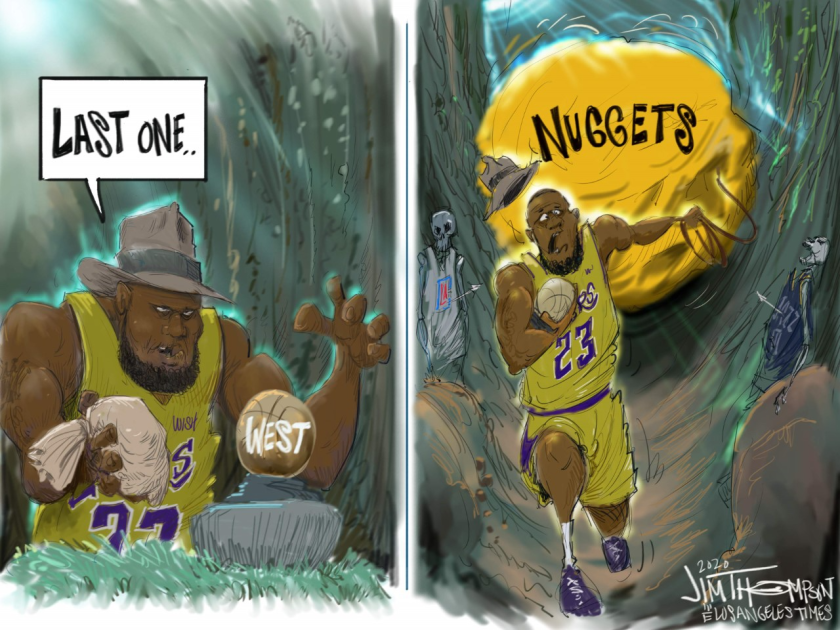 Lakers and the Denver Nuggets cartoon.