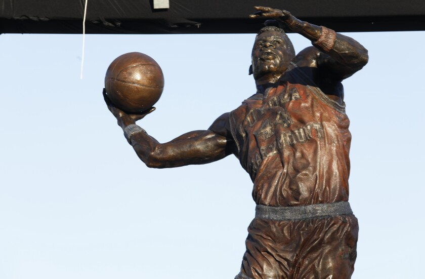 A statue of former Loyola Marymount basketball star Hank Gathers was unveiled at the school Feb. 29, 2020.