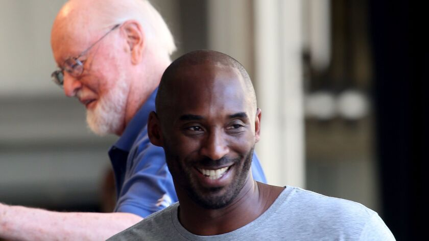 Kobe Bryant and John Williams rehearsing with the Los Angeles Philharmonic on Thursday at the Hollywood Bowl. The next day, the basketball star made a surprise appearance at the Bowl to premiere his short film with music by Williams.