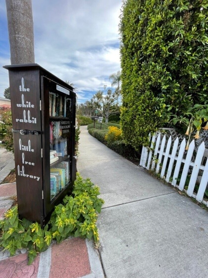 The White Rabbit Little Free Library is in the 1100 block of Virginia Way in La Jolla.