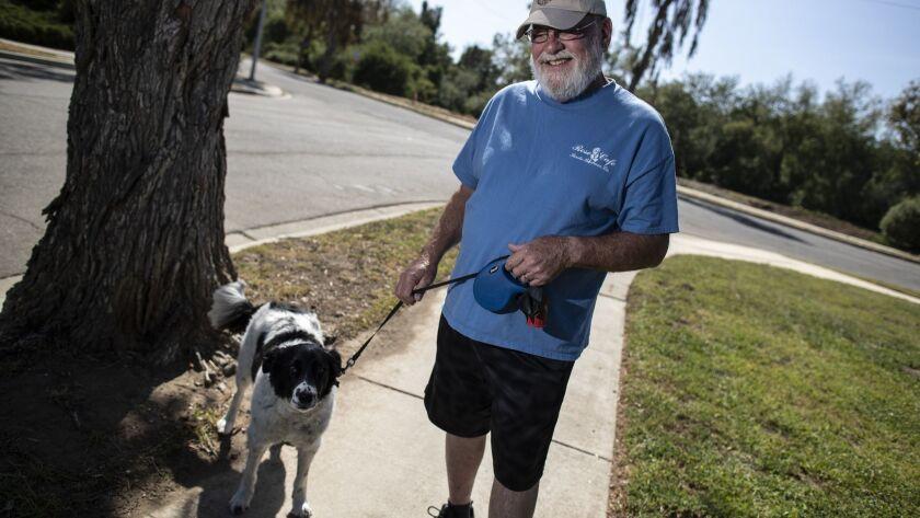 GOLETA, CALIF. -- THURSDAY, MAY 3, 2018: Mac Sanborn, 68, and Scout, his border collie shepherd mix