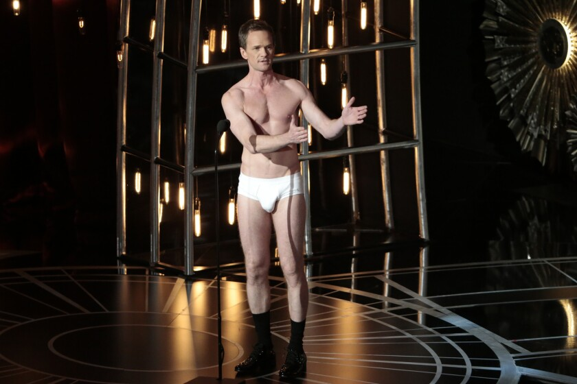 Host Neil Patrick Harris appears on stage in his underwear during the telecast of the 87th Academy Awards.
