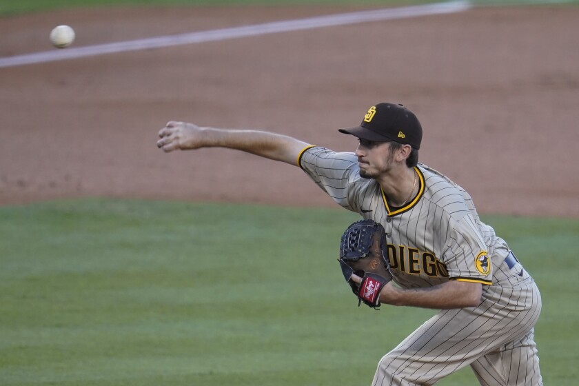 Padres starting pitcher Zach Davies went seven innings Wednesday night against the Dodgers.