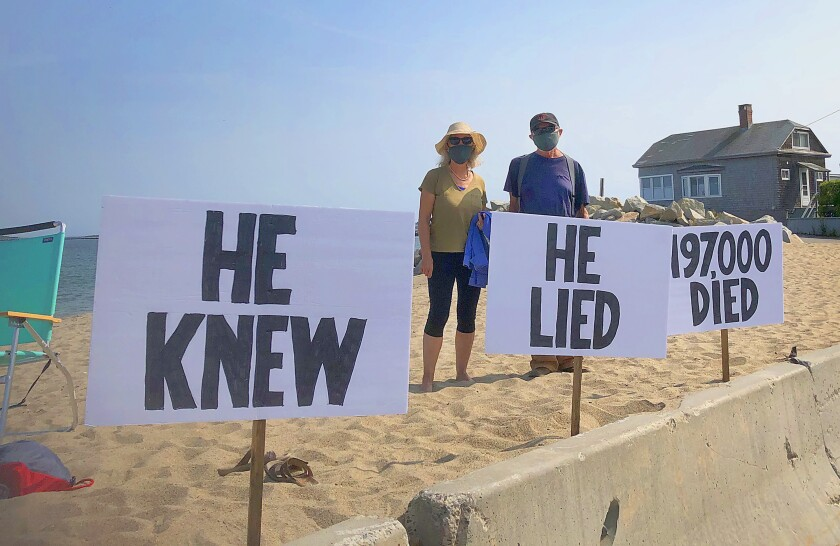 Democrats protested the president's handling of the pandemic in Saco, Maine.
